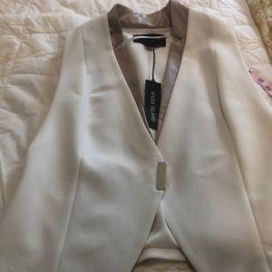 River Island Jackets & Coats - White vest with faux leather trim
